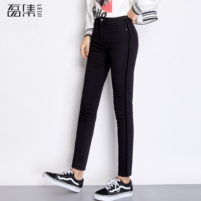 Jeans   For Women Autumn Casual Mid Waist Plus Size Full Length Black Side Stripe Skinny Pencil Pants 6xl