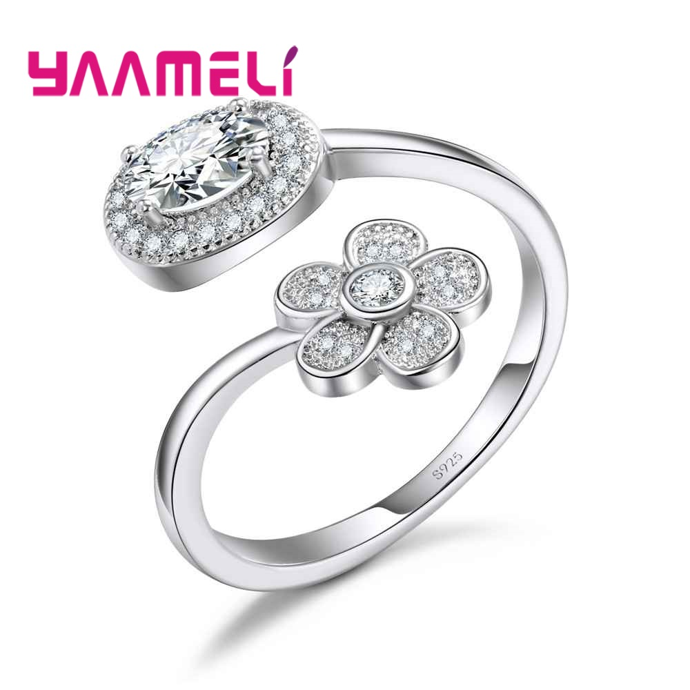 YAAMELI Women Ladies Opening Finger Rings Super Bright Crystal Cubic Zircon Pretty Flowers Design Fine 925 Sterling Silver Gift