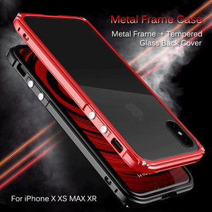 Image 2 - Metal Bumper Case For iPhone X XR XS Max Tempered Glass Back Cover Aluminum Metal Bumper Shockproof Case For iPhone 8 7 6s Plus