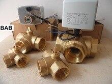 """AC220V DN15 (G 1/2 """")เพื่อDN 32 (G 1 1/4"""") 3 way/T ประเภท3สาย2ควบคุมทองเหลืองไฟฟ้าตัวกระตุ้นบอลวาล์วมอเตอร์ที่มีคุณภาพสูง"""