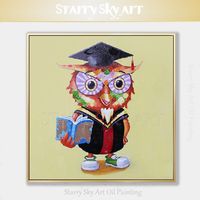 Cheap Price Hand painted Funny Animal Owl Oil Painting on Canvas Hand painted Funny Doctor Owl Oil Painting for Wall Decoration