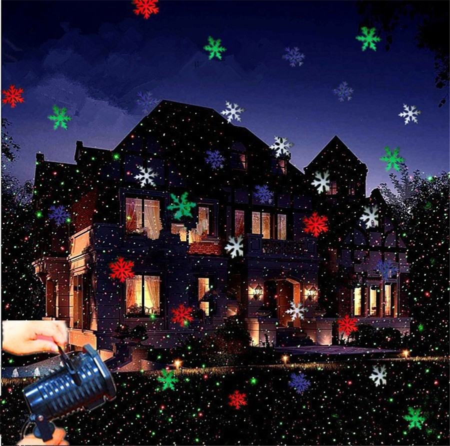 LED Laser Projector Lamps RGB/White Stage Light Outdoor Snowflakes 10 Types Moving Pattern Light Christmas Party Garden CA015 zjright waterproof moving laser projector lamps snowflakes led stage christmas party garden outdoor floor indoor decor lighting