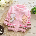 Free shipping Spring and Autumn baby boys and girls cartoon bears knitted sweater,children cardigans,kid sweater#Z469B