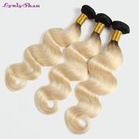 Lynlyshan Malaysian Body Wave Remy human Hair Weft 1/3 PCS #1B 613 long blonde Human Hair Weave hair Bundles