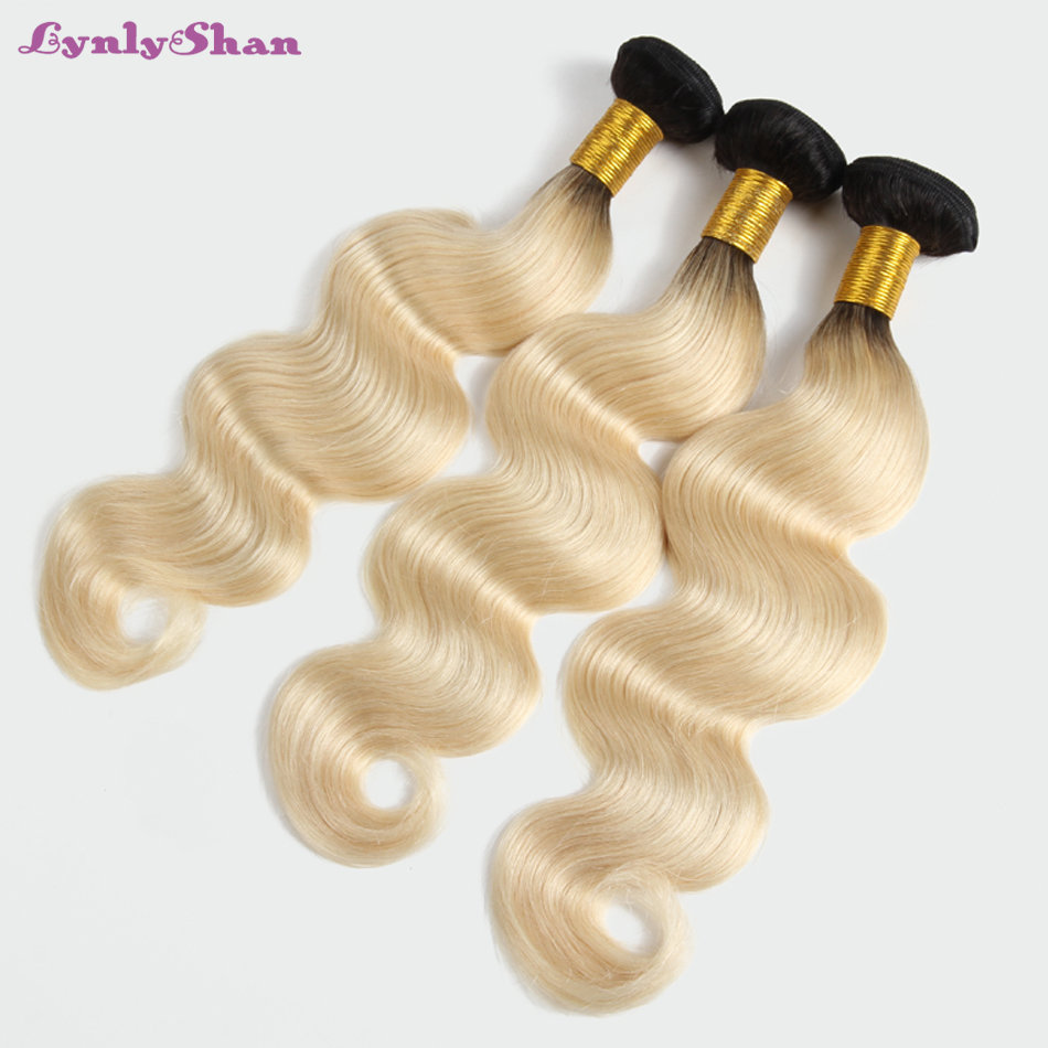 Lynlyshan vague de corps malaisienne Remy trame de cheveux humains 1/3 PCS # 1B 613 longs cheveux humains blonds tisser des faisceaux de cheveux
