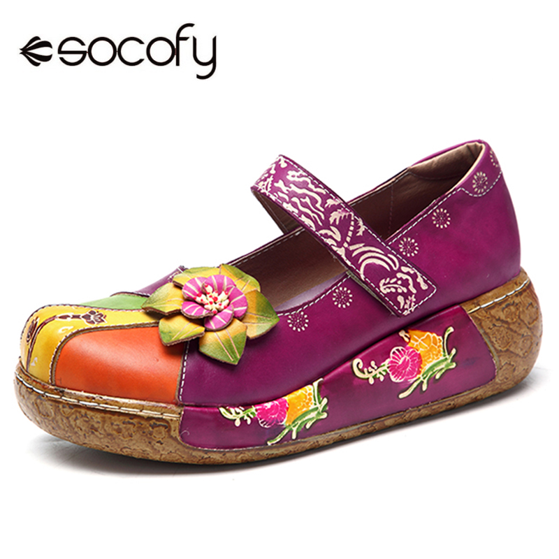 Socofy Retro Genuine Leather Mary Jane Shoes Women Flats New Vintage Bohemian Handmade Flower Hook Loop Flat Heel Ladies Shoes socofy bohemian genuine leather shoes women sandals vintage printing forest hook loop wedge heel women slippers summer new