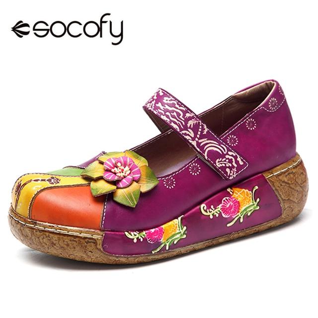 8b3c7462371 Socofy Retro Genuine Leather Mary Jane Shoes Women Flats New Vintage  Bohemian Handmade Flower Hook Loop