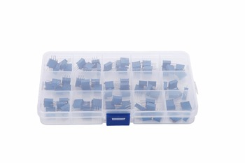 75Pcs 3296W Multiturn Trimmer Potentiometer Kit High Precision 3296 Variable Resistor 100 500R 1K 2K 5K 10K 20K 50K 100K 200K 1M 50pcs trimmer potentiometer rm 065 1kohm 102 1k trimmer resistors variable adjustable resistors