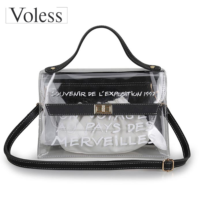 VOLESS Brand High Quality PVC Female Handbags Women Crossbody Bags Fashion Transparent Tote Bag Luxury Letter Lock Bag 2018 Hot