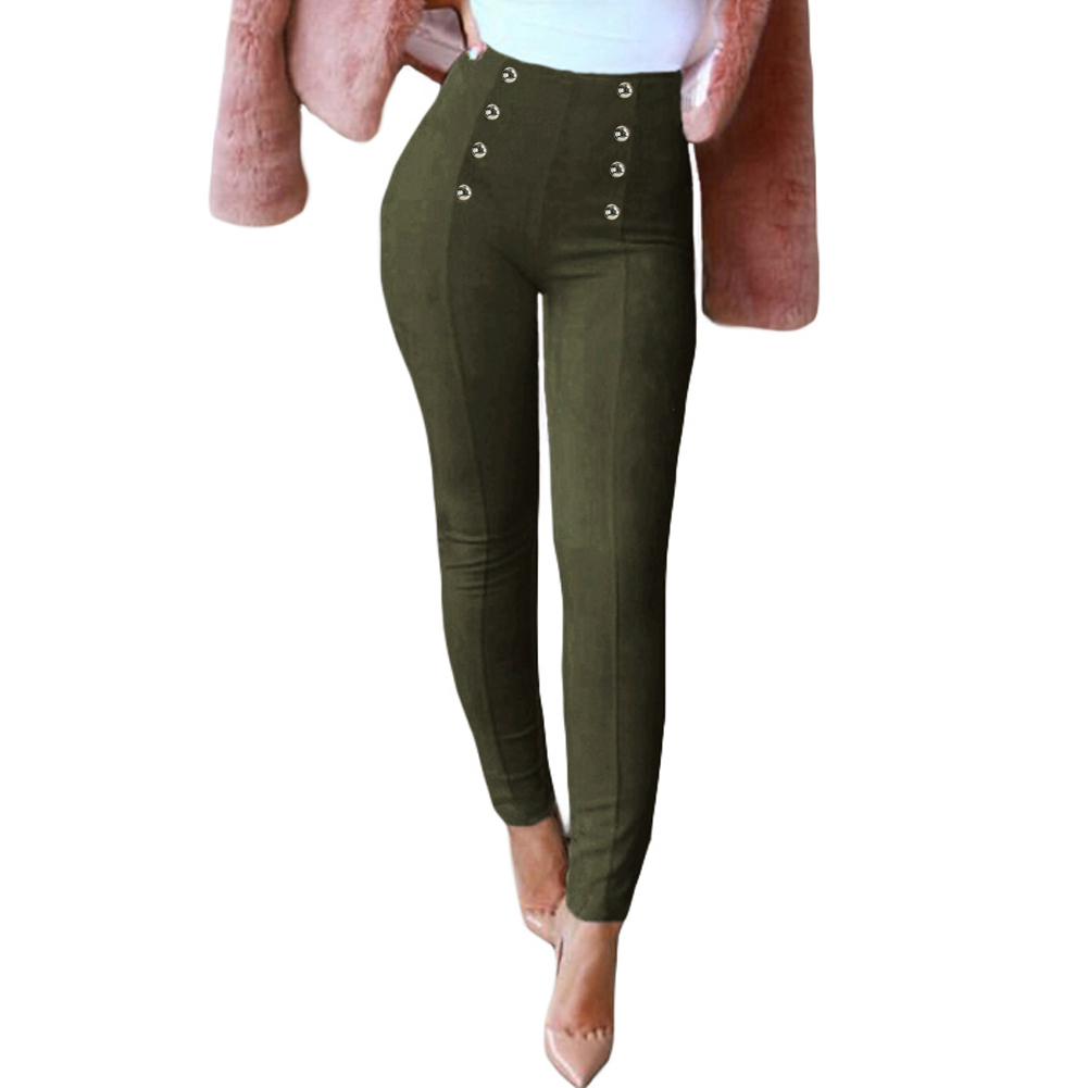 Sexy Women Slim Faux Suede Pants Push Up Trousers Solid