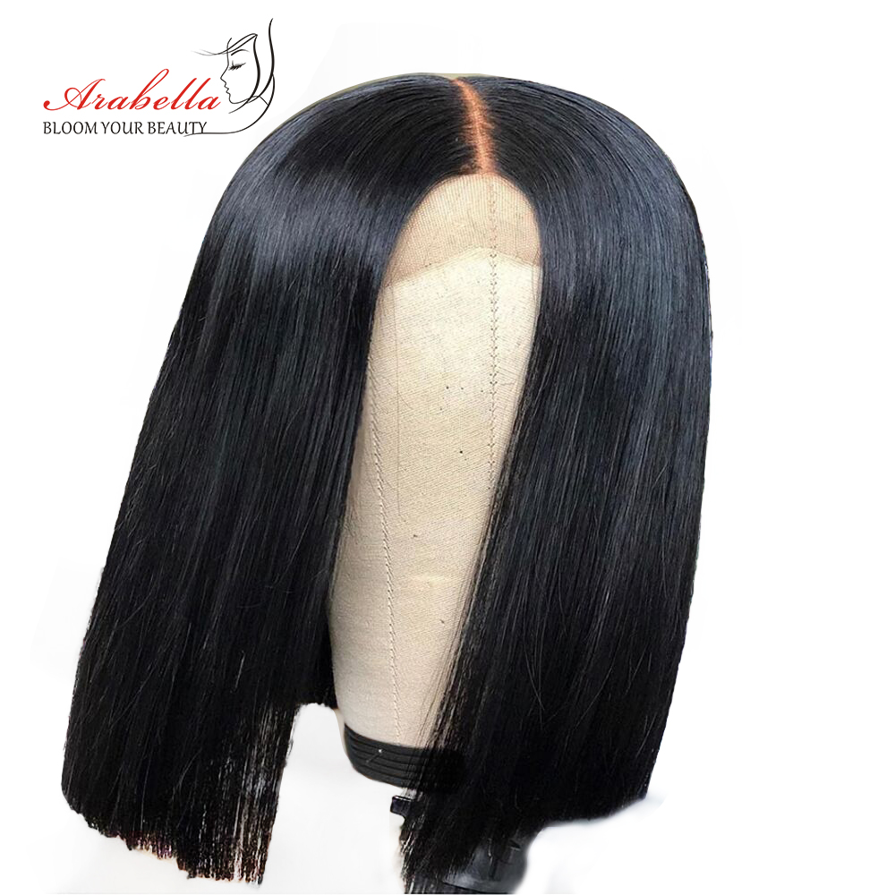 Arabella Peruvian 4*4 Lace Closure Human Hair Wigs Straight Remy Hair Natural Color Short Bob Wigs 180% Density Full And Thick