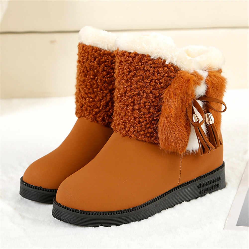 KARINLUNA Yeni Moda Kar Botları Üzerinde Kayma Papyon Katı kaymaz Ayakkabı Kadın Rahat bayan Kış sıcak Kürk yarım çizmeler Boyutu 36-40