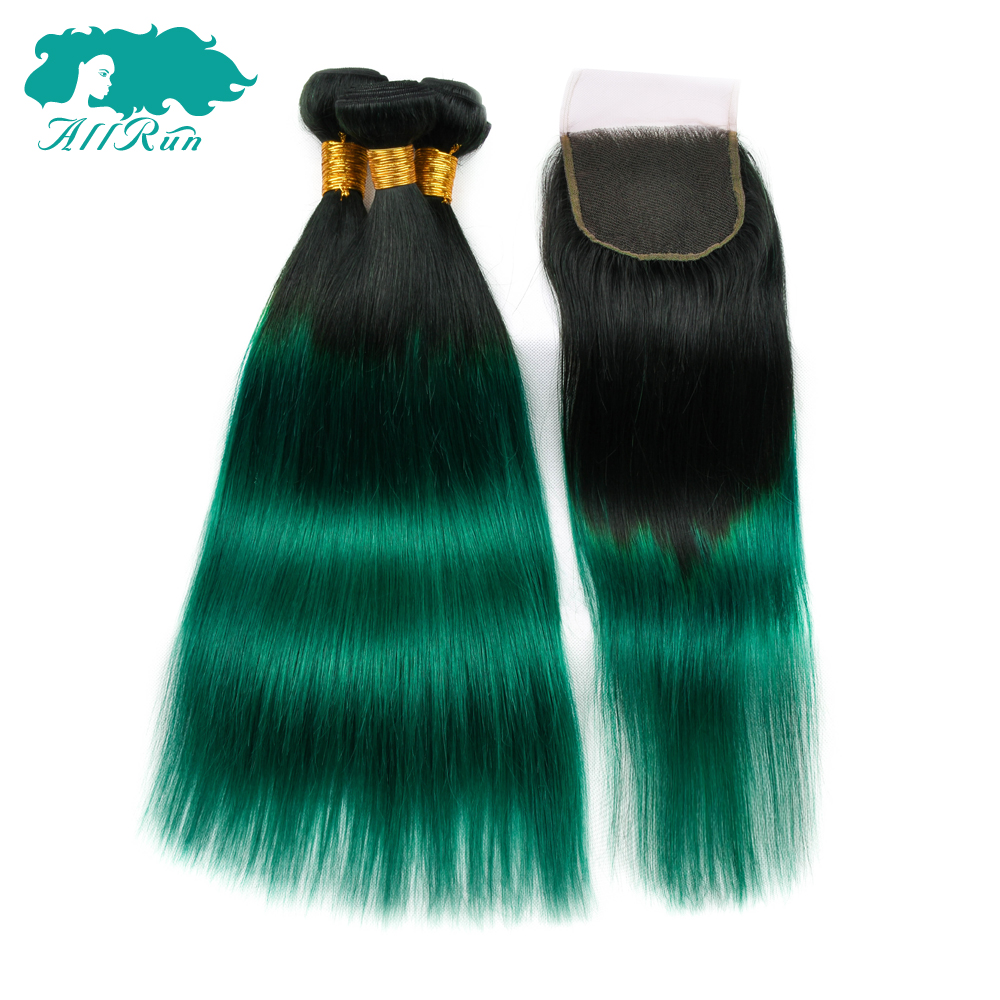 Allrun Hair Bundles With Lace Closure 4*4 1B Green Non Remy Malaysian Hair Straight Human Hair Bundles With Closure