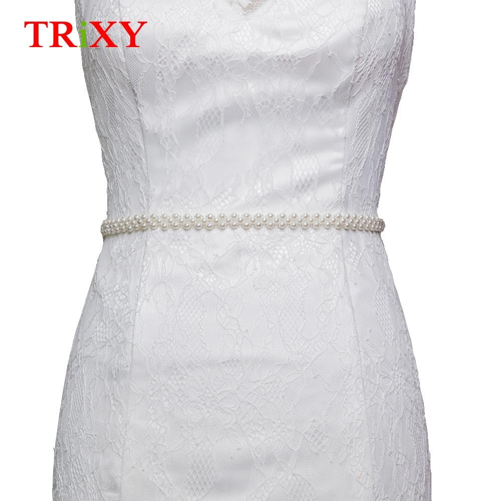 Wedding Accessories Trixy S71 Rhinestones Pearl Thin Wedding Belts Wedding Sash Pearls Beaded Bridal Belts Sash Dress Belt Bridesmaid Belt Sashes