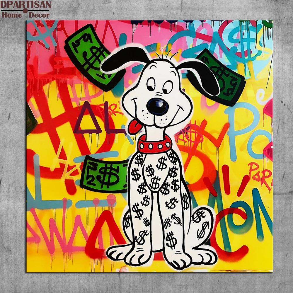 Dpartisan leuke hond alec monopoly graffiti art print canvas voor muur decoratie olieverf muur painting geen