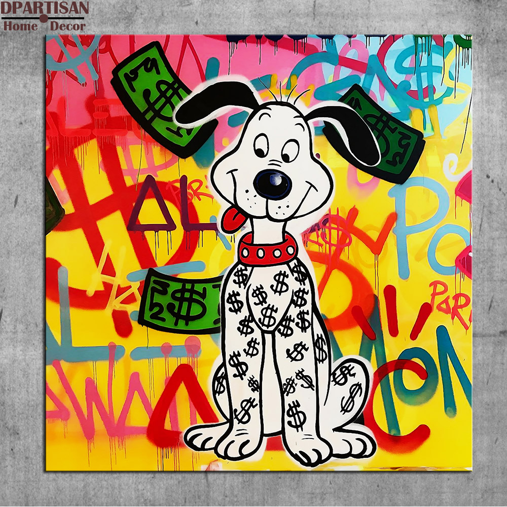 Grafitti art kopen - Dpartisan Leuke Hond Alec Monopoly Graffiti Art Print Canvas Voor Muur Decoratie Olieverf Muur Painting Geen