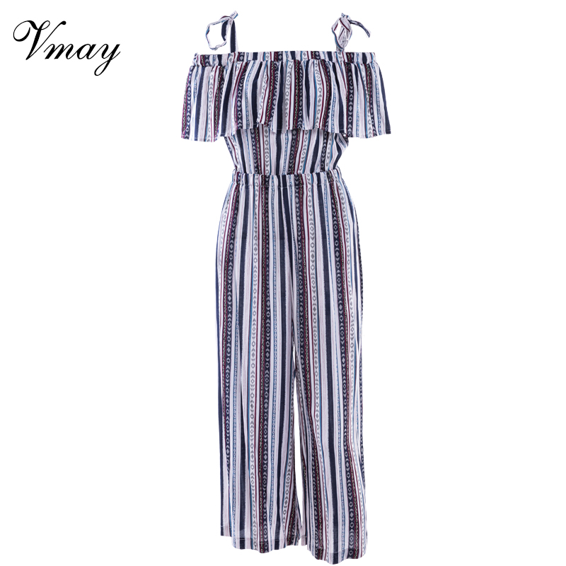 Vmay Spring Summer Women Vintage Bohemian Beach Long Jumpsuits Striped Printed High Waist Loose Maxi Romper Female V1802802 ...