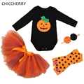Pumpkin Baby Halloween Costume Bodysuit Lace Tutu Skirt Headband Leg Warmers Infantil New Born Baby Girl Clothes Infant Clothing