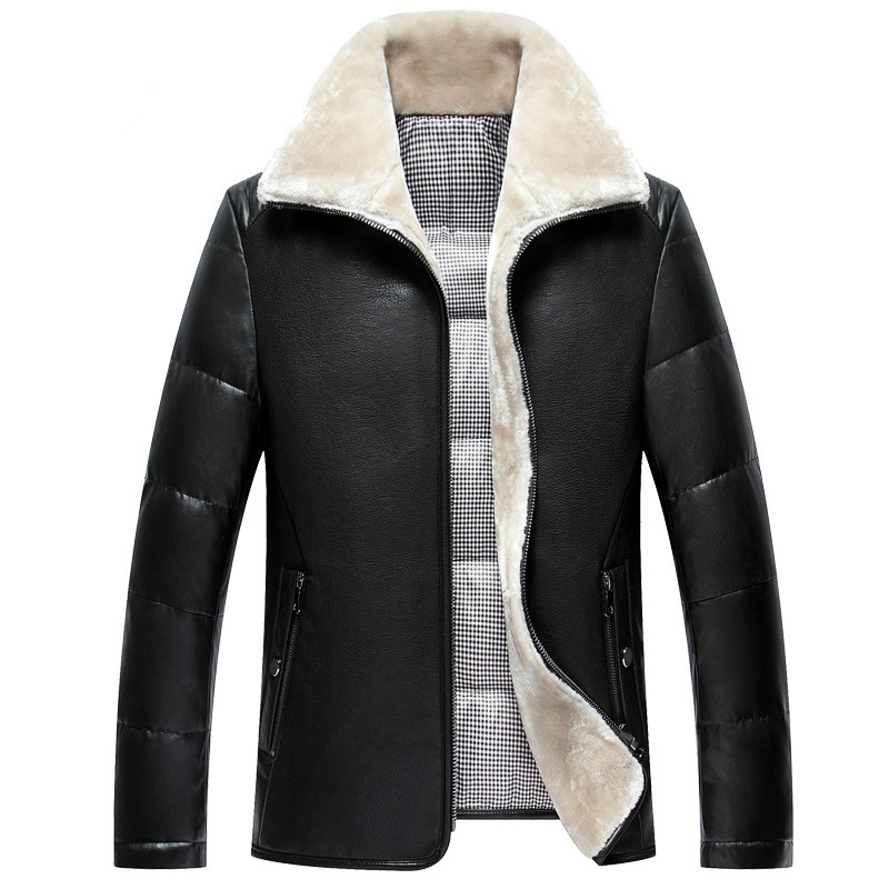Men New Leather Jackets White Duck Down Jacket Business Casual Wear Jacket Thicken Woolen Coats Winter Warm Costume High Quality
