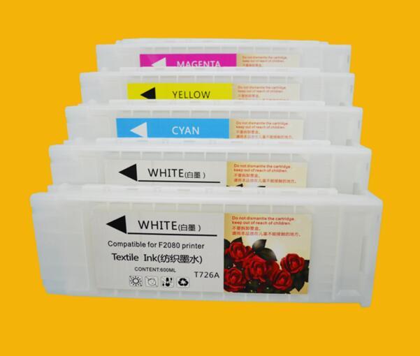 new compatible T7251 T7252 T7253 T7254 T725A reffilable ink cartridge for  epson SureColor F2000 F2080 empty textile inkjet 5pcs