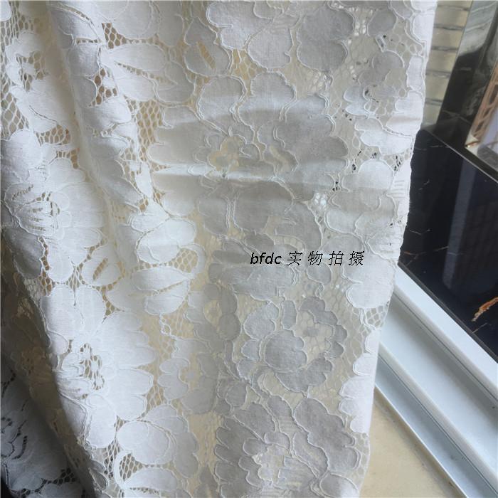 1 stuk/partij hoge katoen chantilly cord wimper kant stof catwalk jurk stof trouwjurk accessoires melkwitte - 2