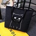 Aequeen gatos dos desenhos animados impresso sacola de compras sacos de lona bolsa bolsas femininas bolsa de praia bolsas de ombro portátil