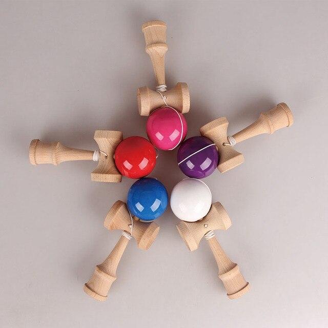 Бесплатная Доставка Размер: 18.5 см Забавный Традиционные Японские Деревянные Игрушки Kendamas Бал красочный Kendama PU Краска Профессиональный oyuncak