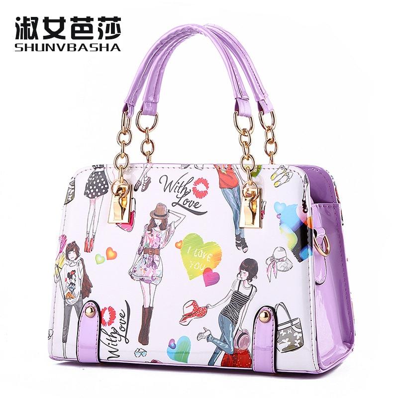 2017 New Women PU leather  handbags female summer models beautiful young fashion chain handbag diagram