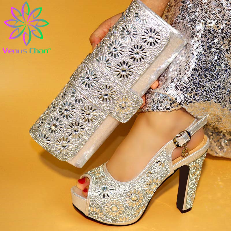 New Gold Color Shoes and Bag Set African Sets 2019 Slippers and Purse To Match Low Heels Pumps with Rivet for Wedding and Party