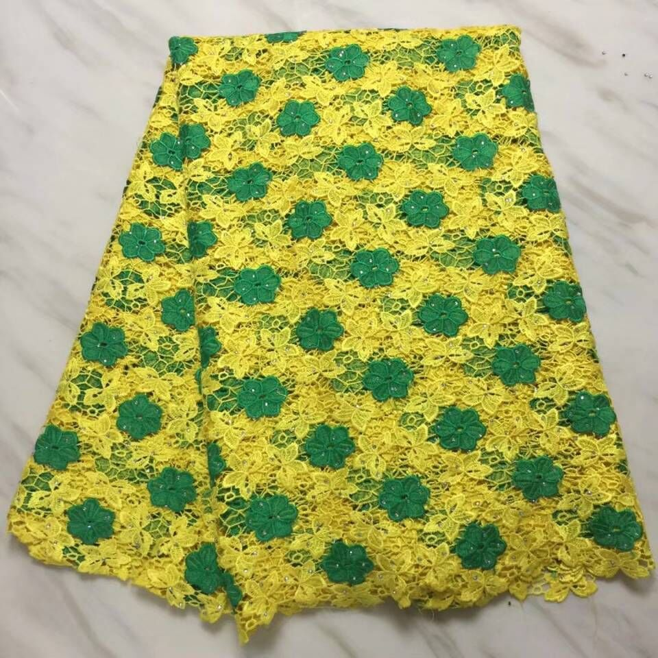 5Yards/pc Beautiful yellow african water soluble lace with green flower and stones french mesh cord lace for clothes BW127-<font><b>13</b></font> image