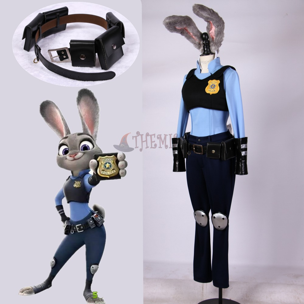 Athemis new Zootopia/Zootropolis Judy Hopps cosplay costume new movie zootopia judy hopps rabbit wig silver long straight cosplay wigs heat resistant fibre hair flat bangs