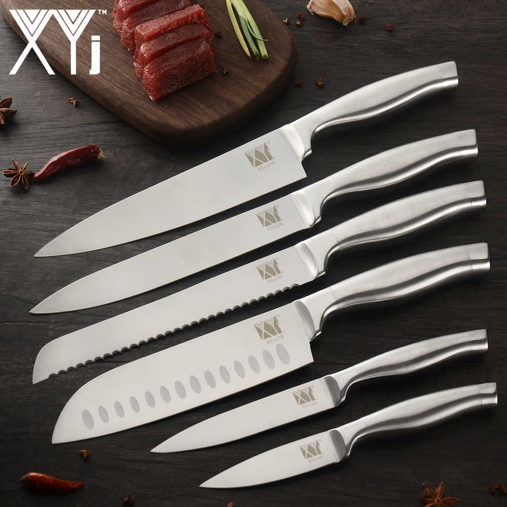 XYj Chef Knife Stainless Steel Kitchen Knives Utility Santoku Kochmesser Slicing Bread Knife Set For Meat Fish Vegetable Cutting
