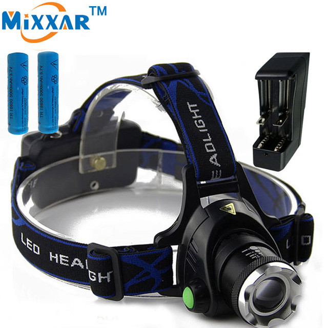 ZK45 Led Headlamp Cree XM-L T6 3800LM Flashlight Head Light Adjustable Focus Fishing Light For Camping 2*18650 Batteries Charger