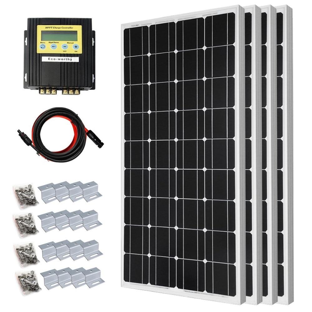 400 Watt Solar Premium Kit: 4pcs 100 Watt 12 Volt Monocrystalline Solar Panel with 20A MPPT Charge Controller400 Watt Solar Premium Kit: 4pcs 100 Watt 12 Volt Monocrystalline Solar Panel with 20A MPPT Charge Controller