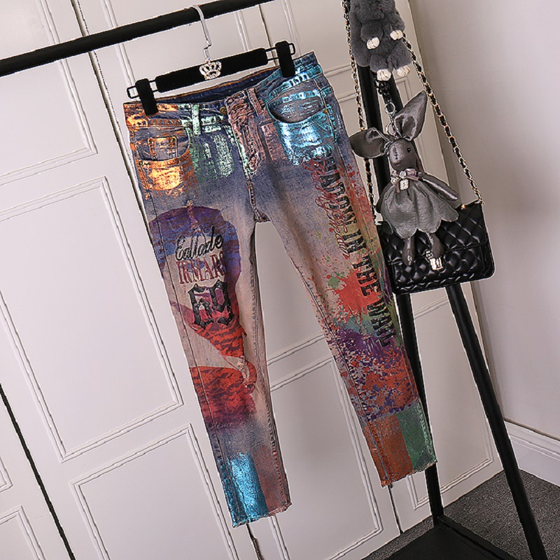 LUCKY STAR 3D Appliques pattern Painted Jeans Momen Straight Elegant Style Ripped Vintage Pattern Skinny Jeans