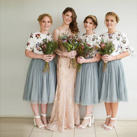 Elegant Dusty Blue Tea Length Tulle Skirts For Bridesmaid To Party Just 2 Layer Tulle And 1 Lining Tulle Skirt Women Saias
