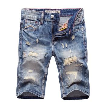 Vintage Designer Fashion Men Short Jeans Casual Destroyed Shorts hombre Ripped Jeans Summer Streetwear Hip Hop Jeans Shorts Men zips embellished destroyed jeans