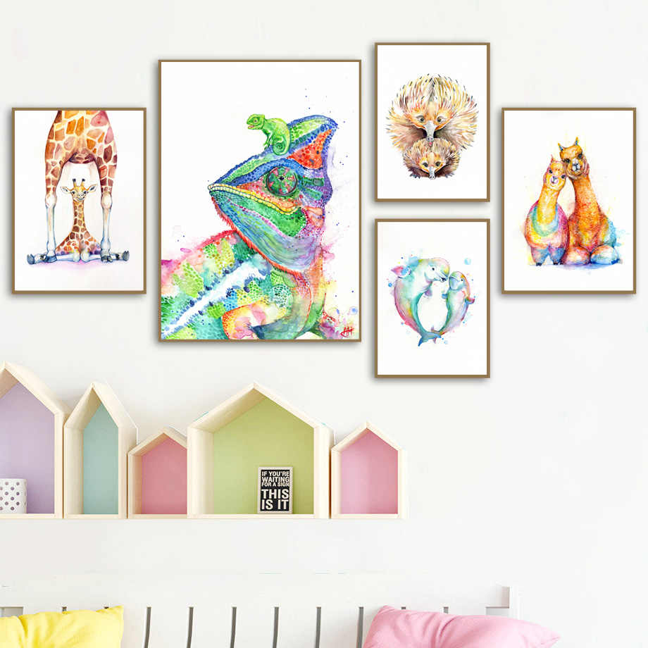 Watercolor Alpaca Bird Wall Art Canvas Painting Nordic Posters And Prints Animal Wall Pictures Kids Baby Room Scandinavian Decor