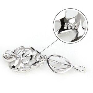Image 4 - CLUCI 3 sztuk liście klonu serce srebro 925 wisiorek dla kobiet naszyjnik biżuteria 925 perła z polerowanego srebra wisiorek klatka SC076SB