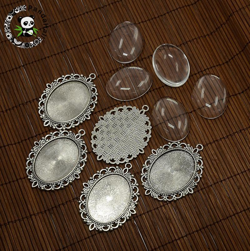 5 Sets Antique Silver Tibetan Style Pendant Oval Clear Glass Cabochon Settings