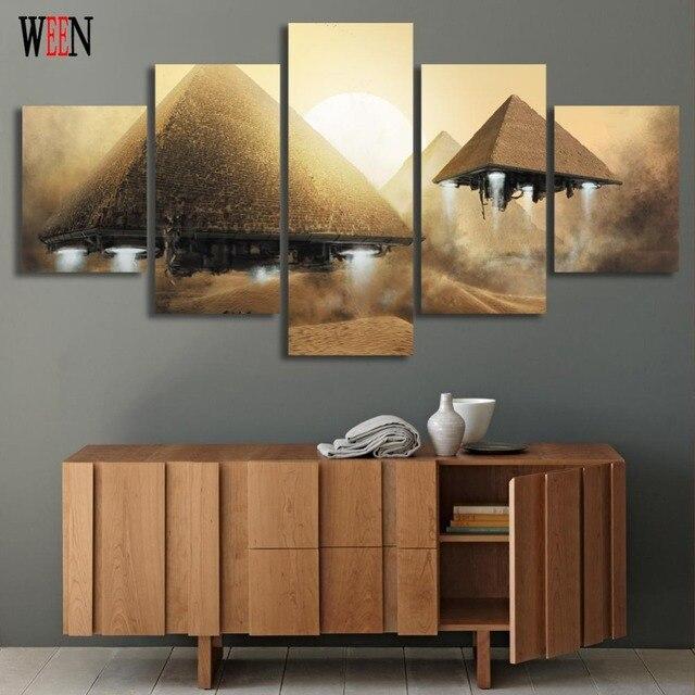 Abstrakte 5 Stücke Pyramide Leinwand Kunst Malerei Wandbilder Für Wohnzimmer  Modularen Bilder Cuadros Decoracion Heißer Geschenk