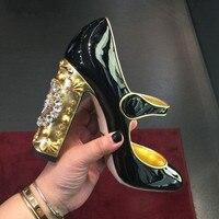 Abesire/женские туфли лодочки на высоком квадратном каблуке, украшенные кристаллами, женские туфли лодочки из лакированной кожи с круглым носк