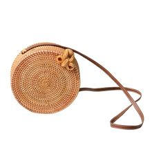 DCOS-Bali Island Hand Woven Bag Round Butterfly Buckle Rattan Straw Bags Satchel Wind Bohemia Beach Circle Bag