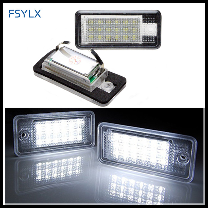 FSYLX Error free LED License Number Plate Light Lamp for AUDI A3 8P A6 4F A4 B6 Q7 TDI Canbus Car LED License Plate Lights A3 A6 2 pcs led license plate light no error 3528 smd lamp for audi a3 s3 a4 s4 b6 a6 c6 a8 s8 rs4 rs6