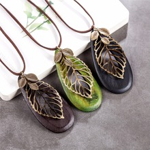 vintage leaf woman statement necklaces & pendants,long Necklace wood jewelry collier collares mujer necklace women gargantilha
