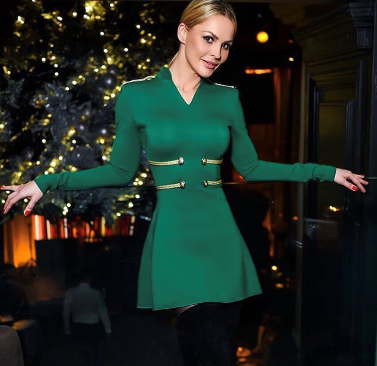 Top Quality Red Green Black Long Sleeve Gold Line Rayon Bandage Dress Homecoming Party Elegant Dress