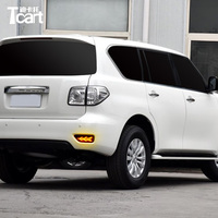 Tcart 2PCS Rear Fog Lamp For Nissan patrol 12V Car LED Rear Bumper Light Brake Light Flowing Turn Signal Reflector