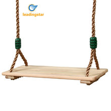 LeadingStar Classic Wooden Swing Seat with Strong Swing Rope Height-adjustable Hanging Swing for Indoor Outdoor zk30(China)