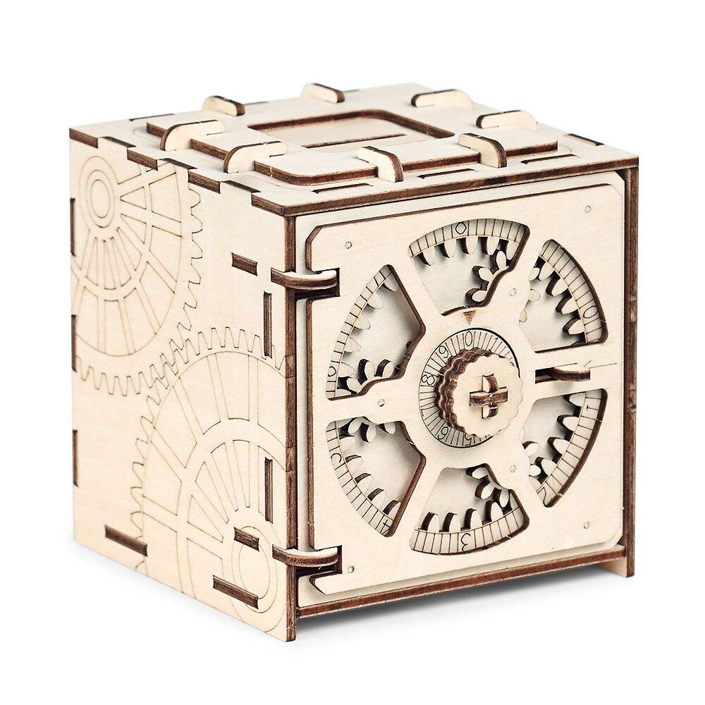Code de chiffrement boîte de dépôt Puzzles 3D modèle en bois mécanique Puzzle jouets éducatifs assemblage et étapes de couture détaillées