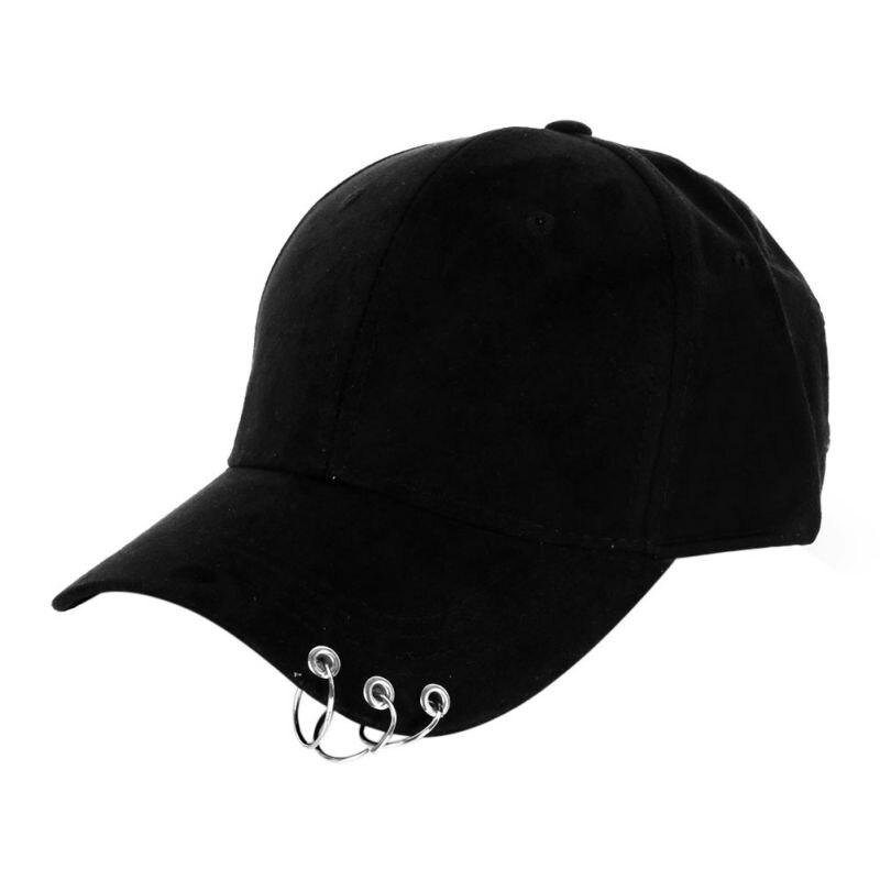 2019 Baseball Kappe Snapback Hut Kappe Männer Hip Hop Hut Tanz Zeigen Hüte Mit Ringe Einstellbare Unisex Kappe Schwarze Kappe 7 Farben Y6